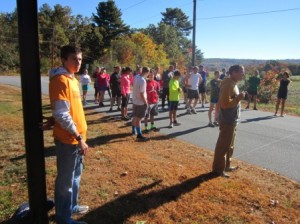 Getting ready to start the race at the starting line.