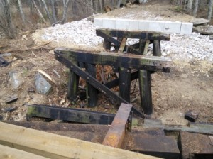 The old wooden beams were removed and new abutment installed. The two bents are left as reminders of the historic bridge configuration.