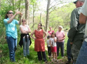 Kate Marquis discussing leaf patterns with walk participants.