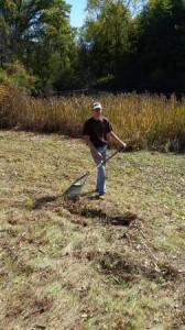 Alex Adamsky raking up the vegetation along the pond edge.