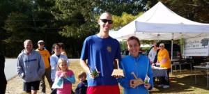 Overall male and female winners of the 5-mile Classic: Matthew Twarog and Simonetta Piergentili
