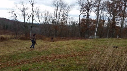 Sam and Reshma doing a final pick up on the knoll.