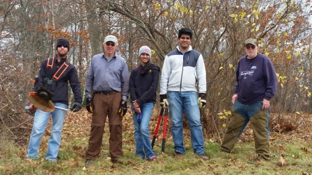 Happy workers after clearing the knoll. Thank you Darien, Tom, Reshma, Ani, and Harrison. Sam and Michael helped too.