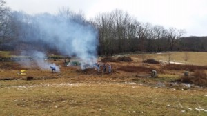 Two big piles are burned to open up the corner that was planted to Austrian pines. That area will be mowed regularly to encourage grasses and other native plants.