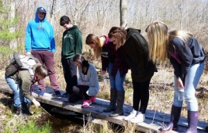 Eagle Hill School students and their teacher looking at frog eggs in Fish Brook.