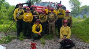 The crew who handled the prescribed fire includes members from Northeast Forest and Fire Management, Mass. DCR District 9 & 10 fire fighters.