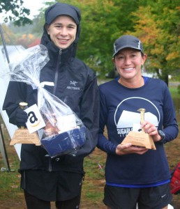 Overall Male and Female winners of the 5-mile Classic, Patrick Caron and Karla Steele.