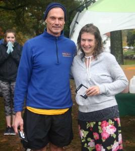 Overall male and female winners of the 5k Run/Walk, David Maher and Jennifer Hoche.
