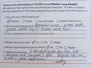 Here's what Holly had to say about the 2016 Station Loop Ramble. Wont you join her on Sunday, October 8th for this year's run and walk events? See you then!