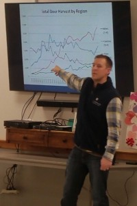 David showing the changes in deer population over time in different parts of the state.