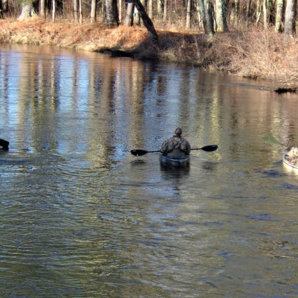 Category 9 - Human Interest. Hunters in the Water, taken by Rosalynn Cogoli in December 2018 at Mass Central Rail Trail