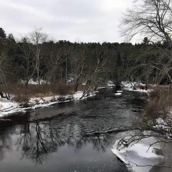 Category 8 - Water. Winter on the Ware River, by Chris Komenda at the Mass Central Rail Trail