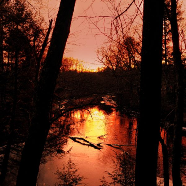 Category 8 - Water. Sunrise on the Ware River by Bob Deslites, taken on January 18, 2019 at the Mass Central Rail Trail