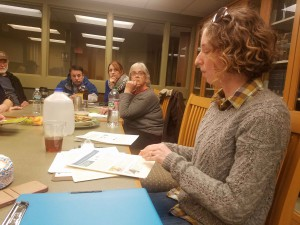 Kate Hauske, program coordinator, shares the details of the Bird Habitat Assessment project with woodland owners at a session in North Brookfield on February 18th.