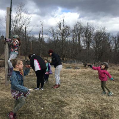 The kids help with cleaning out the bird houses in at EQLT preserves to kick-off Earth Day