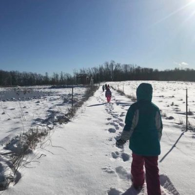 Exploring the great outdoors at our nature preserve at Mandell Hill. We were cold, but braved it for nature!