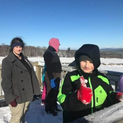 Hiking with Wednesday homeschooling walkers. This winter day we hiked at Mandell Hill, did the full loop, and played on the bird watching platform.