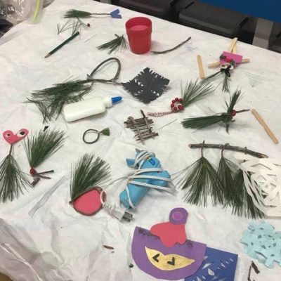 Using natural materials to create ornaments at the Hardwick Youth Center.