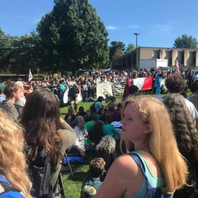 A photo of the UMASS Climate Strike which captures the outpouring of support on this day. There were speakers of young and old, songs to demonstrate the impact of land exploitation, wildlife and habitat destruction. Important conversations were had about climate refugees and climate migrants due to climate change.